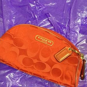 ❤️Coach Red Satin Cosmetic Monogrammed Pouchette❤️